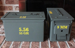 An example of high quality exterior grade vinyl decals applied to ammo cans to clearly identify their contents.
