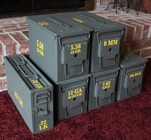 A selection of ammo cans demonstrating how their contents are clearly labeled using high quality exterior grade yellow vinyl.