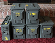 Load image into Gallery viewer, A selection of ammo cans demonstrating how their contents are clearly labeled using high quality exterior grade yellow vinyl.