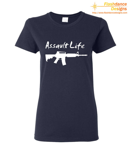 Silhouette of one of several modern military style rifles with the words Assault Life written above all printed on a heavy cotton ladies' tee.  Available in multiple color combinations.