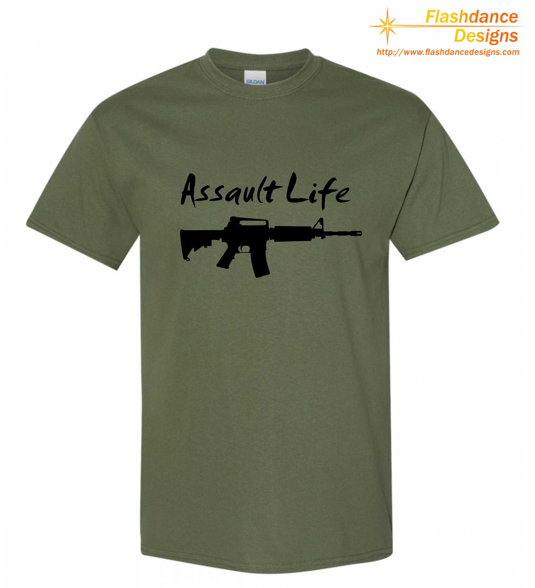Silhouette of one of several modern military style rifles with the words Assault Life written above all printed on a men's/unisex heavy cotton tee. Available in multiple color combinations.
