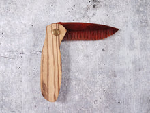 Load image into Gallery viewer, Folding tactical beard comb featuring a zebrawood handle and a tortoise shell acrylic blade