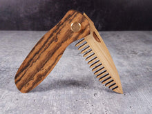 Load image into Gallery viewer, Folding tactical beard comb with a bocote handle and bamboo ply blade