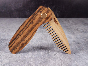 Folding tactical beard comb with a bocote handle and bamboo ply blade