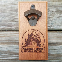 "Load image into Gallery viewer, Custom laser engraved hardwood bottle opener measuring 4"" x 8"". This example shows a local brewery's logo. The bottle opener includes a rare earth magnet to hold bottle caps."