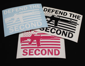 "Decal featuring the silhouette of one of several modern military style rifles over the American flag with the words ""Defend the Second"" above and below.  High quality exterior grade vinyl available in many colors."