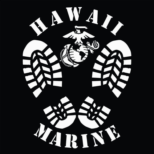Decal featuring boot prints, an Eagle, Globe and Anchor (EGA), and the text Hawaii Marine. High quality exterior grade vinyl available in many colors.
