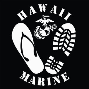 Decal featuring one boot print and a flip-flop, an Eagle, Globe and Anchor (EGA), and the text Hawaii Marine. High quality exterior grade vinyl available in many colors.