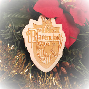 Laser engraved birch Christmas ornament with the Harry Potter Hogwarts House crest of Ravenclaw.