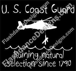 Natural Selection decal features a CG helicopter rescuing a stick figure from an angry sea.  Cut from quality exterior grade vinyl.  Available in multiple colors.