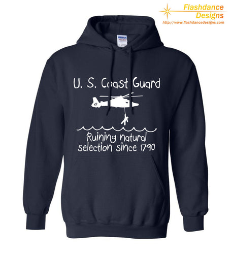 US Coast Guard Natural Selection design features a GC helicopter rescuing a stick figure from an angry sea. Design printed on men's/unisex heavy cotton hoodie. White print on navy hoodie