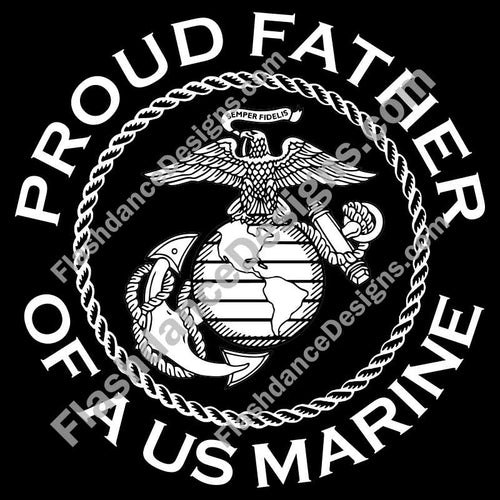 Detailed version of the USMC Eagle, Globe and Anchor, within a rope circle and surrounded with Proud Father of a US Marine.  Cut from high quality exterior grade vinyl and available in multiple colors.  This is a USMC licensed product