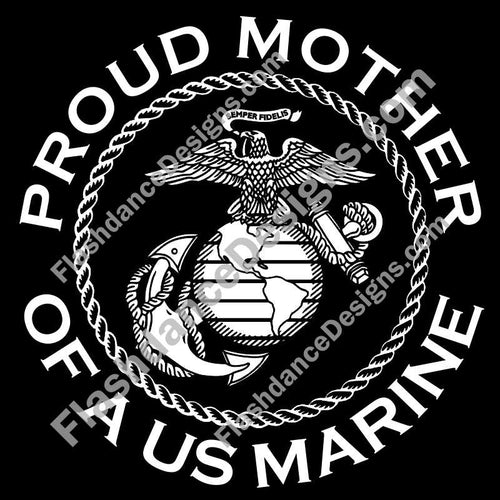 Detailed version of the USMC Eagle, Globe and Anchor, within a rope circle and surrounded with Proud Mother of a US Marine. Cut from high quality exterior grade vinyl and available in multiple colors. This is a USMC licensed product