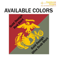 Load image into Gallery viewer, Printed representation of the yellow footprints painted on the deck outside of the receiving barracks onboard MCRD Parris Island, SC. Features the Eagle Globe and Anchor on the back. Printed on US made heavy cotton long sleeved tees of military green or red