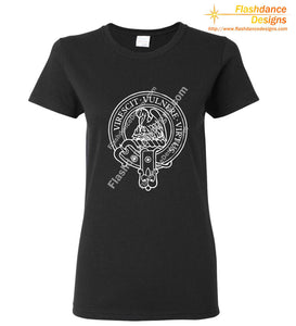 Scottish Clan Crest heavy cotton tee in a ladies' fit, showing the Stewart crest in white on a black shirt. Other available clans include Akins, Cambell, Comyn, Cumming, Farquharson, Fraser, MacGregor, MacKinnon, MacKintosh, Macmillan, Montgomery and Ramsay.