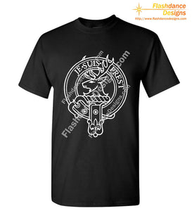 Scottish Clan Crest heavy cotton tee in a unisex / men's fit, showing the Fraser crest in white on a black shirt. Other available clans include Akins, Cambell, Comyn, Cumming, Farquharson, MacGregor, MacKinnon, MacKintosh, Macmillan, Montgomery, Ramsay and Stewart.