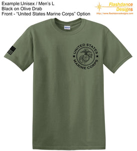 United States Marine Corps (USMC) heavy cotton tee shirt with Eagle Globe and Anchor (EGA) on the left chest and an US Flag on the front right sleeve.