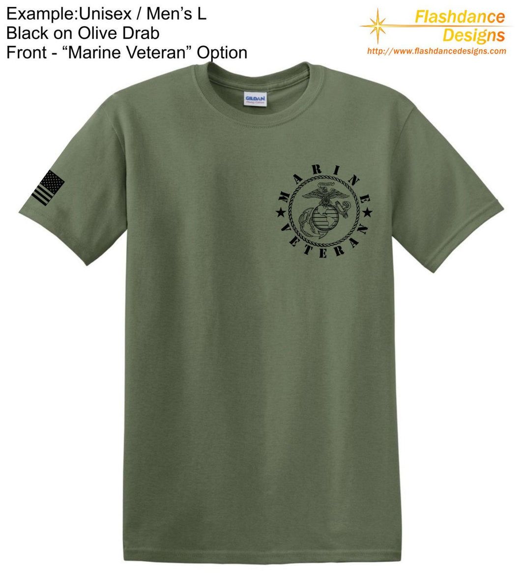 United States Marine Corps (USMC) heavy cotton tee shirt with Eagle Globe and Anchor (EGA) and Marine Veteran on the left chest and an US Flag on the right sleeve.