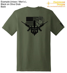 United States Marine Corps (USMC) heavy cotton tee shirt with Eagle Globe and Anchor (EGA), US Flag, K-Bar and M4 designs printed on the back.