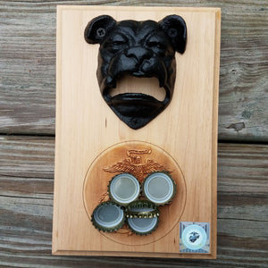"Bulldog bottle opener mounted on a hardwood base measuring 5.5"" x 8"". The base is laser engraved with the United States Marine Corps (USMC) Eagle, Globe and Anchor (EGA). The bottle opener includes a rare earth magnet to hold bottle caps."