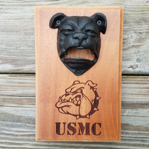 Bulldog bottle opener mounted on hardwood measuring 5.5