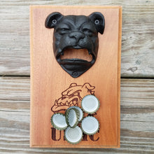 "Load image into Gallery viewer, United States Marine Corps, USMC Bulldog bottle opener 5.5"" x 8"" with bulldog engraved design includes rare earth magnet to hold bottle caps"