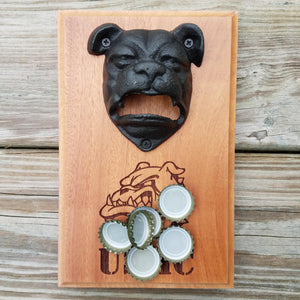 "United States Marine Corps, USMC Bulldog bottle opener 5.5"" x 8"" with bulldog engraved design includes rare earth magnet to hold bottle caps"