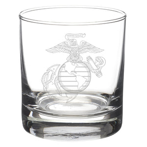USMC Classic EGA Etched Glass Tumbler Rocks Glass