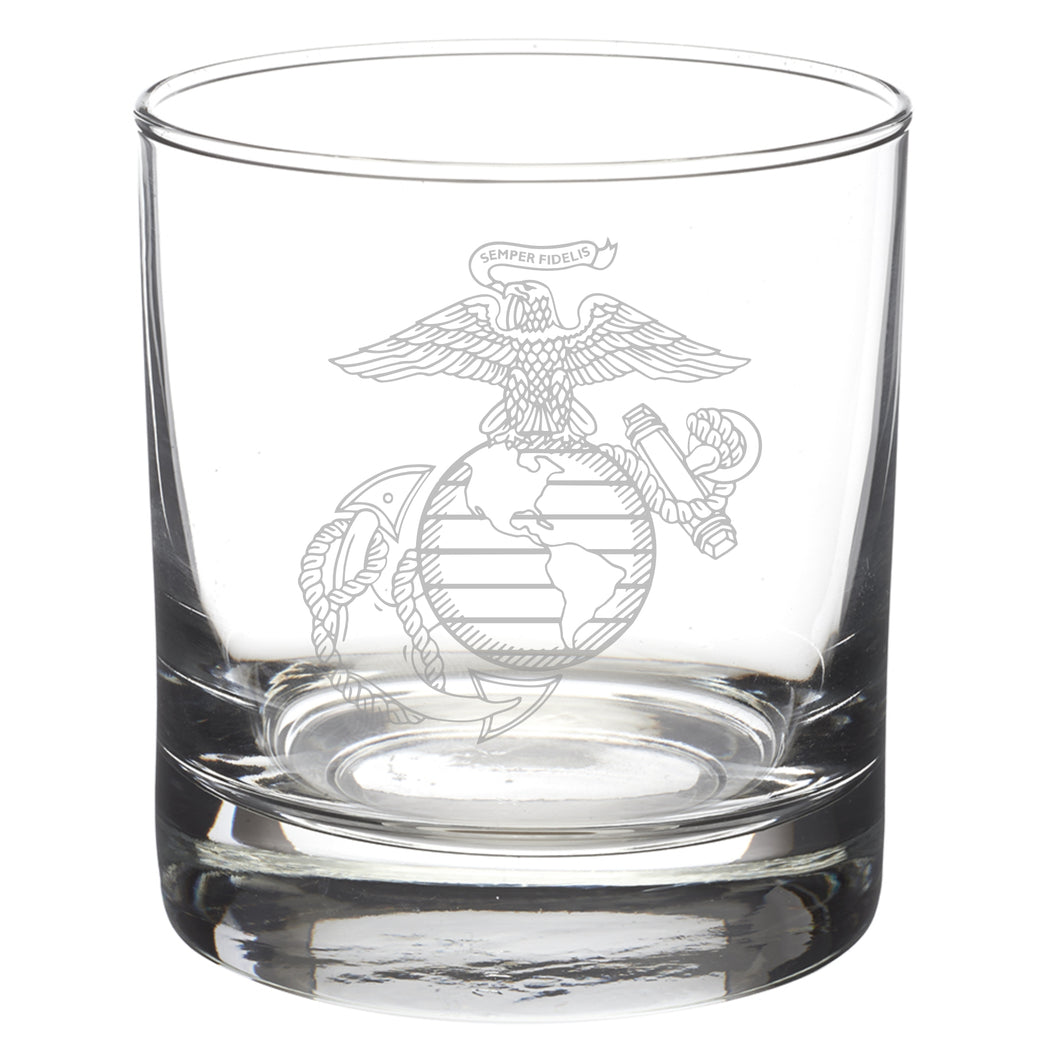 Detailed version of the United States Marine Corps Eagle Globe and Anchor laser etched on an eight or eleven ounce glass tumbler. USMC licensed product made in the United States.