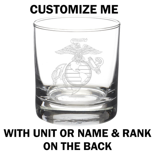 Detailed version of the United States Marine Corps Eagle Globe and Anchor laser etched on an eight or eleven ounce glass tumbler. USMC licensed product made in the United States. This item can be customized with additional engraving on the back side.