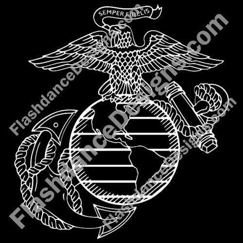 Detailed version of the US Marine Corps Eagle, Globe and Anchor cut from high quality exterior grade vinyl.  Available in varies sizes and colors.  Made in the US, this is a Marine Corps licensed product