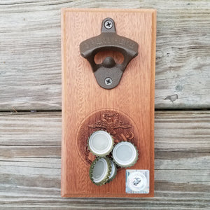 "Hardwood bottle opener measuring 4"" x 8"", laser engraved with the United States Marine Corps (USMC) Eagle, Globe and Anchor (EGA). The bottle opener includes a rare earth magnet to hold bottle caps."