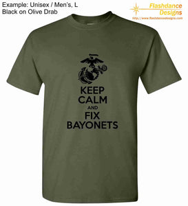United States Marine Corps (USMC) heavy cotton tee shirt with Eagle Globe and Anchor (EGA)  and Keep Calm and Fix Bayonets on the front of the shirt.