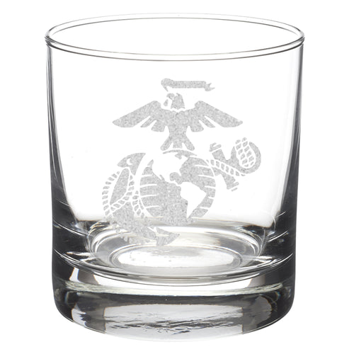 Modern version of the United States Marine Corps Eagle Globe and Anchor laser etched on an eight or eleven ounce glass tumbler. USMC licensed product made in the United States.