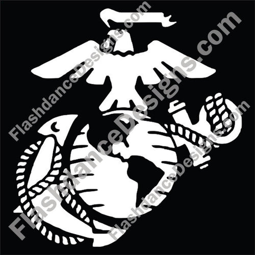 Modern  version of the US Marine Corps Eagle, Globe and Anchor cut from high quality exterior grade vinyl. Available in varies sizes and colors. Made in the US, this is a Marine Corps licensed product