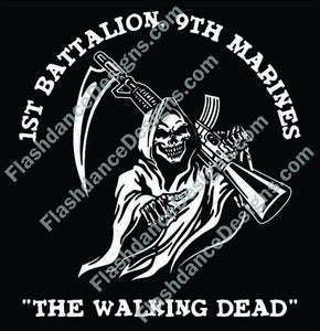 Decal featuring the logo of the 1st Battalion, 9th Marines The Walking Dead. High quality exterior grade vinyl available in many colors.