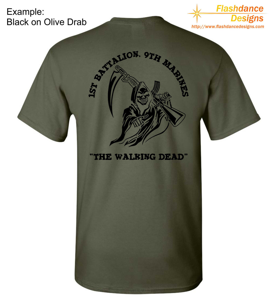 United States Marine Corps (USMC) heavy cotton tee shirt with  the 1st Battalion, 9th Marines The Walking Dead logo and text on the back.