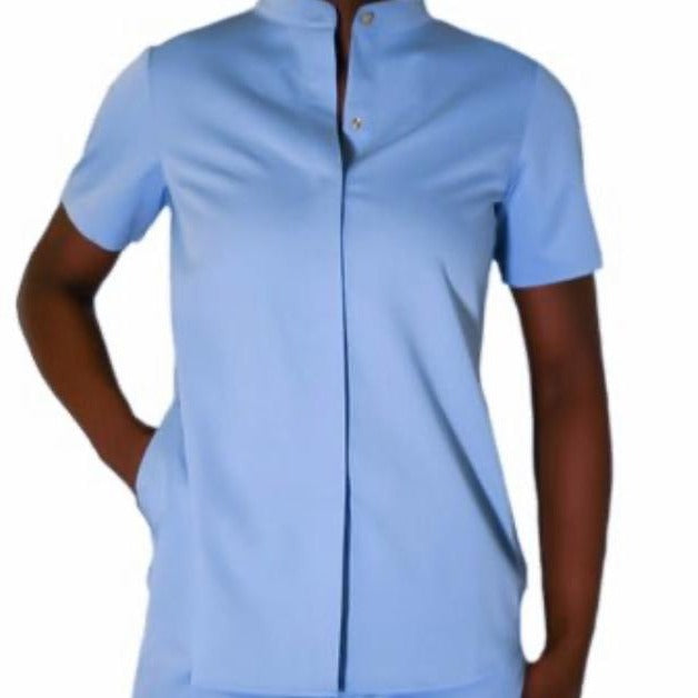 Signature Collection Collarless Button Down Scrub Top