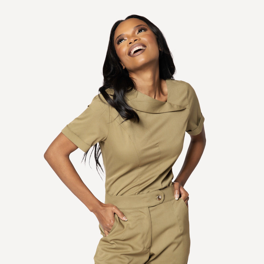 Signature Collection Asymmetrical Collar Scrub Top- Limited Edition