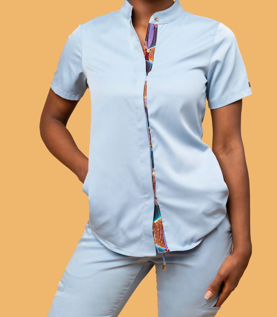The Heritage Collection Collarless Button Down Scrub Top