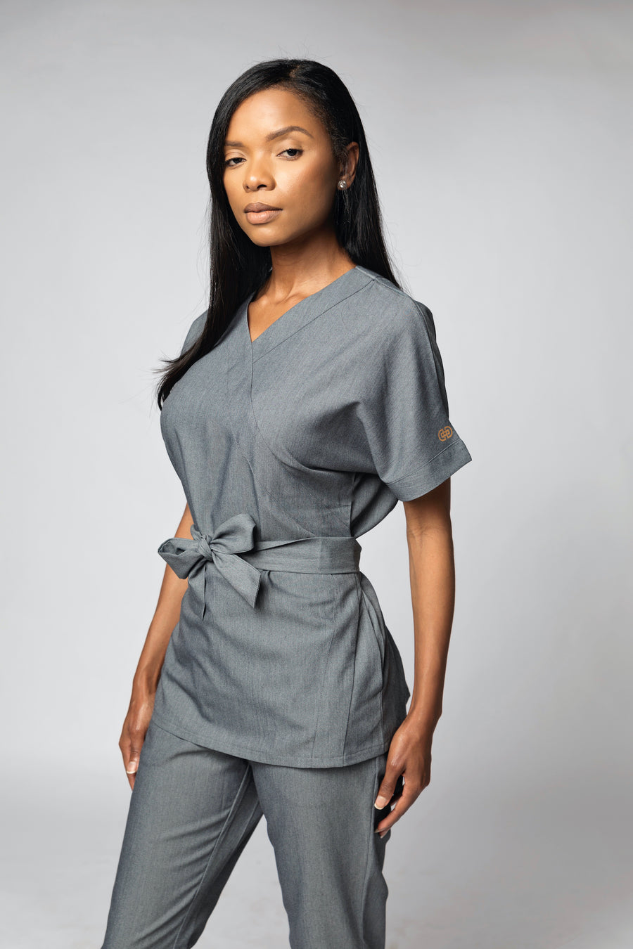 Signature Collection Belted Mock Wrap Scrub Top