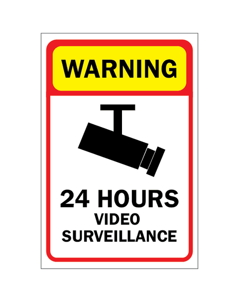 24 Hour Video Surveillance Warning Sign 4mm 12″x18″ Coroplast - BC Retail Supplies