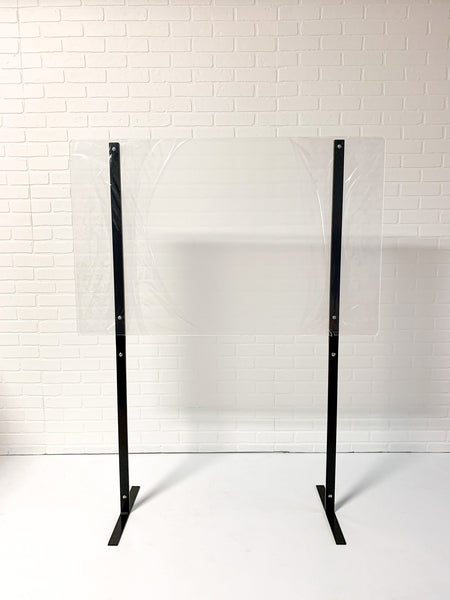 "5' Frameless Self Standing Plexiglass Sneeze Guard with 48""x30"" Acrylic Shield - BC Retail Supplies"