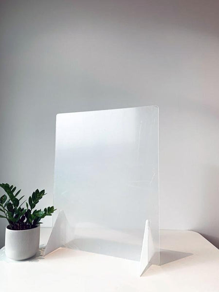 "Countertop Sneeze Guard 24""x30"" No Access Hole Clear Acrylic Plexiglass - BC Retail Supplies"