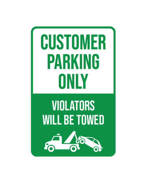 "Customer Parking Only Sign Aluminum Composite 12""x18""x 3mm - BC Retail Supplies"