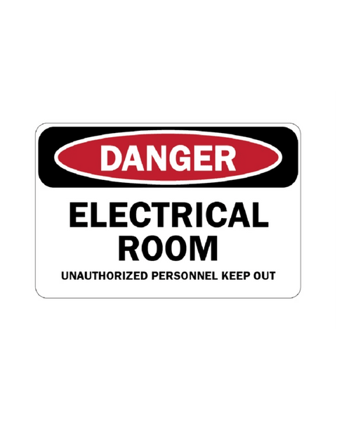 Electrical Room Warning Sign 3mm 12″x18″ Aluminium Composite - BC Retail Supplies