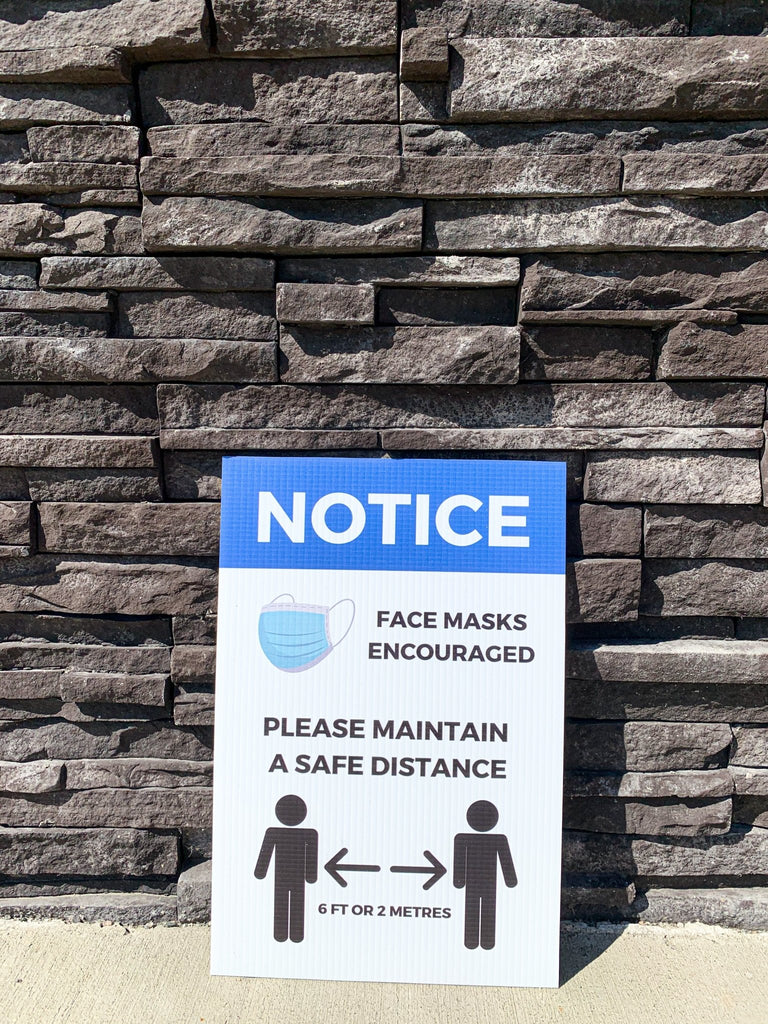 "Face Mask Encouraged Physical Distancing Sign - 4mm 12""x18"" Coroplast - BC Retail Supplies"