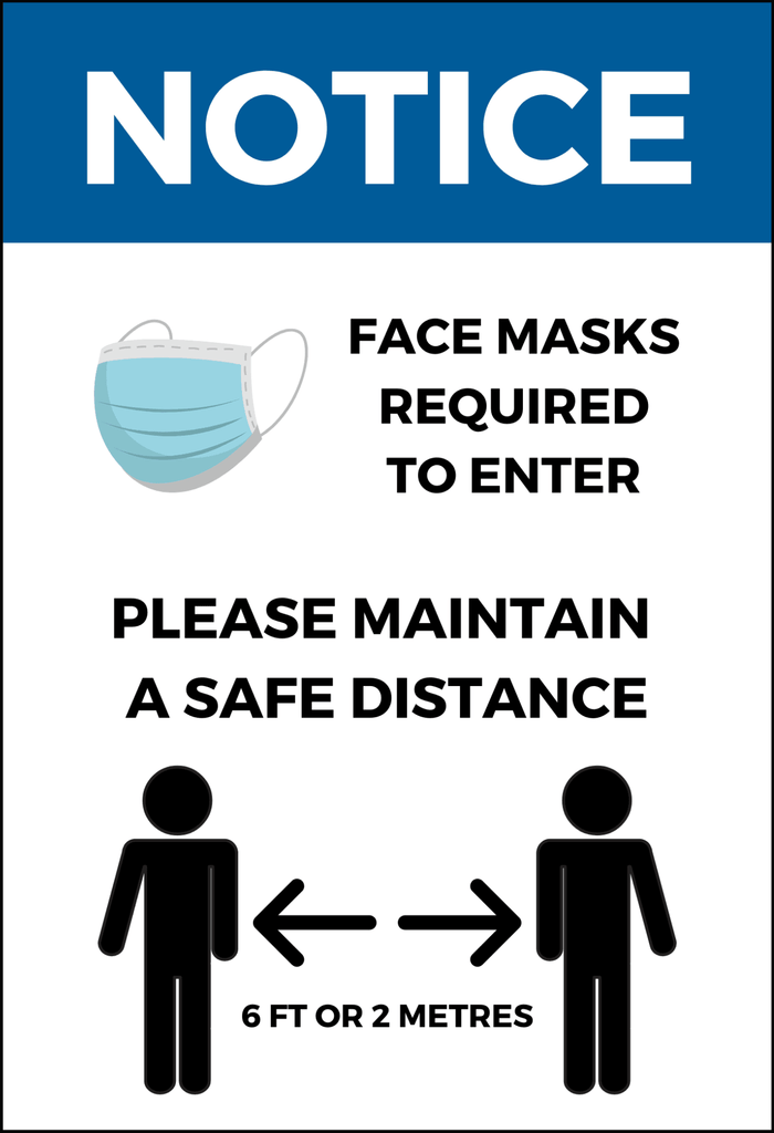 "Face Mask Required and Physical Distancing Sign - 4mm 12""x18"" Coroplast - BC Retail Supplies"