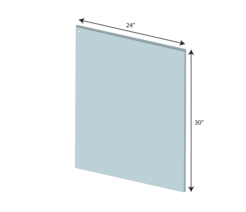 "Hanging Sneeze Guard 24""x30"" Clear Acrylic Plexiglass - BC Retail Supplies"