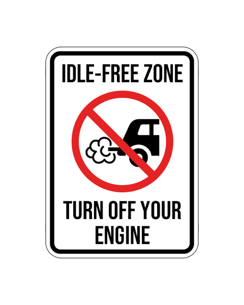 "Idle-Free Zone Sign Aluminum Composite 12""x18""x 3mm - BC Retail Supplies"